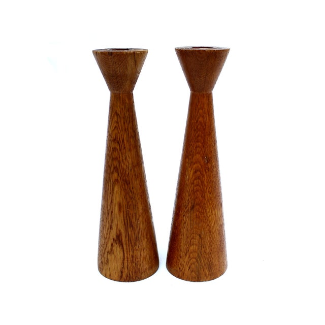 Image of Danish Modern Turned Wood Candleholders - A Pair