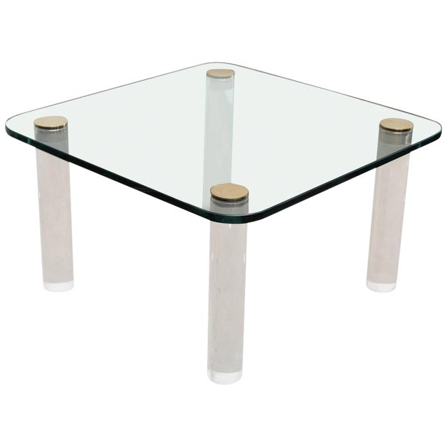 Vintage Pace Glass, Brass and Lucite Small Coffee or Cocktail Table - Image 1 of 10