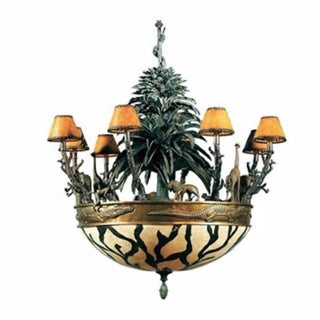 Maitland Smith Verdigris & Antique Brass African Wildlife Chandelier