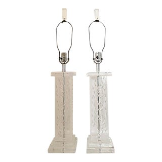 Lucite Relief Detail Table Lamps - a Pair