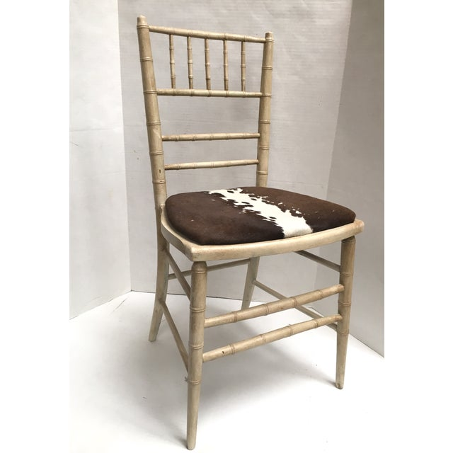 Faux Bamboo Painted Accent Chair With Cowhide Seat Chairish