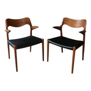 Niels Moller Danish Modern #55 Teak Armchairs - A Pair