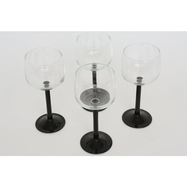 Vintage French Black Stem Glasses - Set of 4 - Image 3 of 7