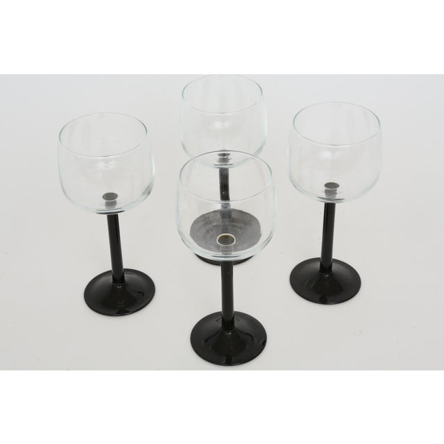 Image of Vintage French Black Stem Glasses - Set of 4