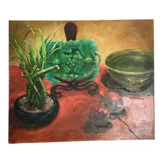 Majolica, Pomegranates & Bamboo Still Life Oil Painting