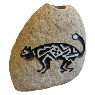 Southwestern Cat Motif Stone Vase by Bill Worthen