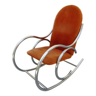 Vintage Upholstered Chrome Rocking Chair
