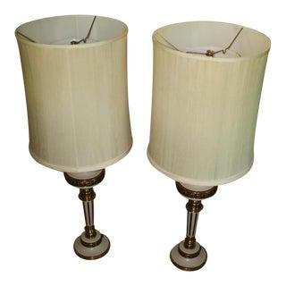 Art Deco Ceramic & Brass Table Lamps- A Pair