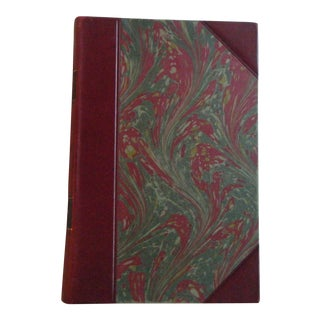 Vintage 1930s Red Leather & Marbled Book in Danish