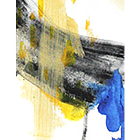 Black, Yellow & Blue Abstract Painting - Image 2 of 2