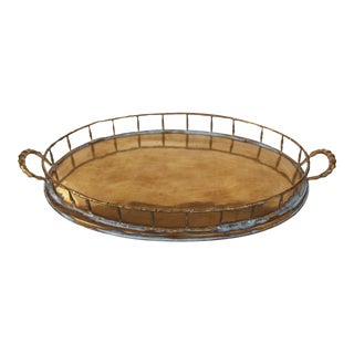 Brass Faux Bamboo-Style Serving Tray