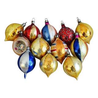 Midcentury Fancy 1960s Christmas Ornaments w/Box - Set of 12