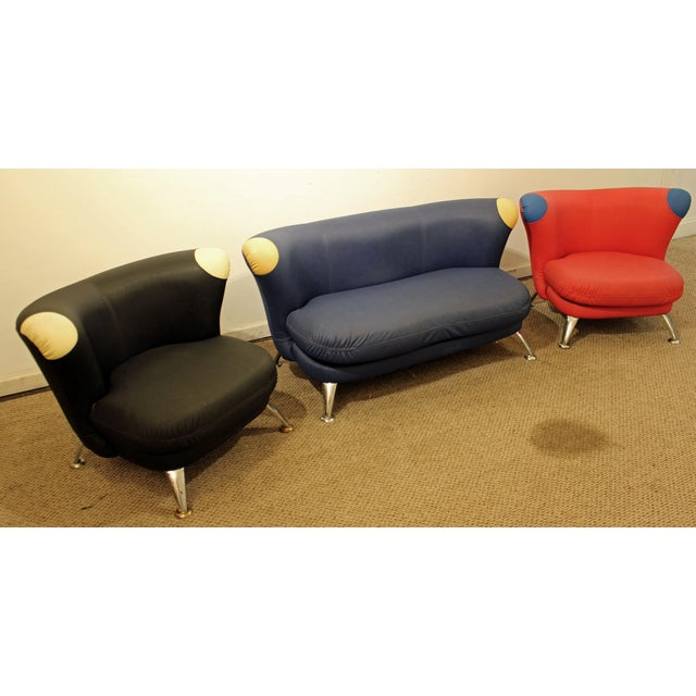 3-Piece Mid-Century Italian Modern Sofa Loveseat/Lounge Chair Set - Image 2 of 11