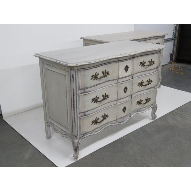 Image of Swedish Style Distressed Painted Commodes - A Pair