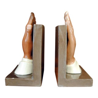 1950s Vintage Prayer Hands Bookends - A Pair