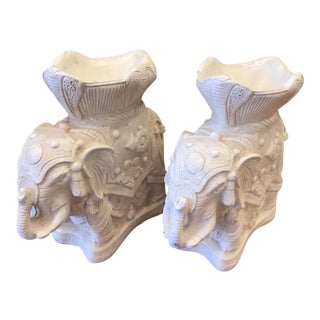 Mid-Century Ivory Resin Elephant Planters - A Pair