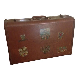 Vintage Samsonite Suitcase With Travel Decals
