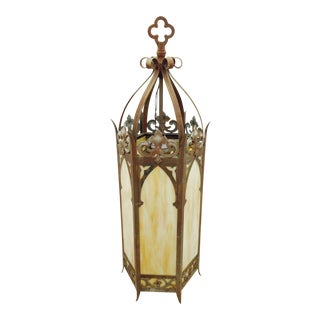 Antique Cathedral Church Glass Lantern