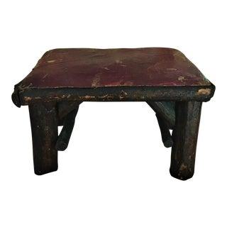 Antique Log Cabin Wood Footstool