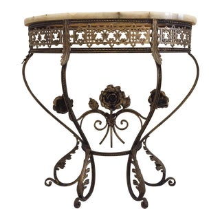 Antique Petite Marble Top Wrought Iron Console