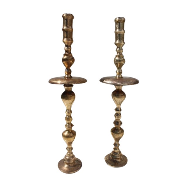 Image of Hollywood Regency Floor Candle Holders - A Pair