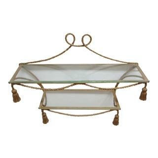 Vintage French Regency Gold Gilt Rope Twist Metal Tassel Wall Shelf