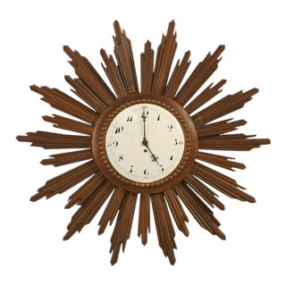 French Porcelain Face Sunburst Clock
