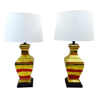 Vintage Mid-Century Brass Lamps - A Pair