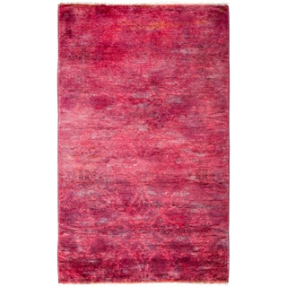 "New Pink Over-Dyed Hand-Knotted Rug - 3'2"" x 5'"