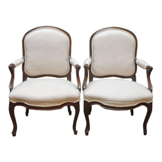 Pair of Louis XV Walnut Fauteuils En Cabriolet by Jean-Baptiste Boulard