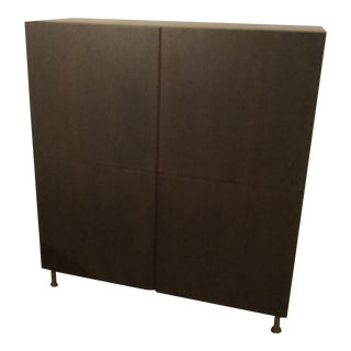 Contemporary Modern 4 Door Dark Wood Cabinet