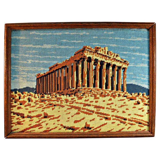 Antique Greek Parthenon Needlepoint - Image 1 of 5