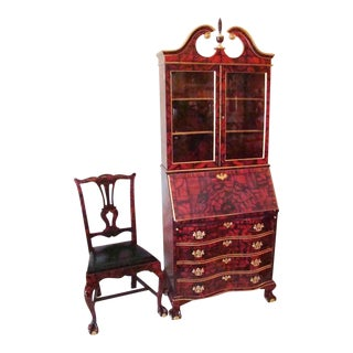 Chippendale Faux Red Malachite Desk & Chair