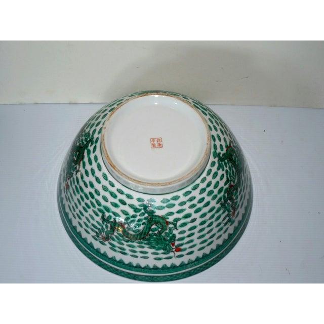 Mammoth Chinese Emerald Dragon Bowl - Image 7 of 7