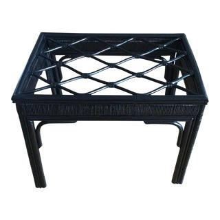 Hollywood Regency Black Rattan Bamboo Table with Glass Top
