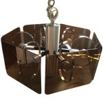 Image of 1970's Chrome and Smoked Lucite Pendant Lamp