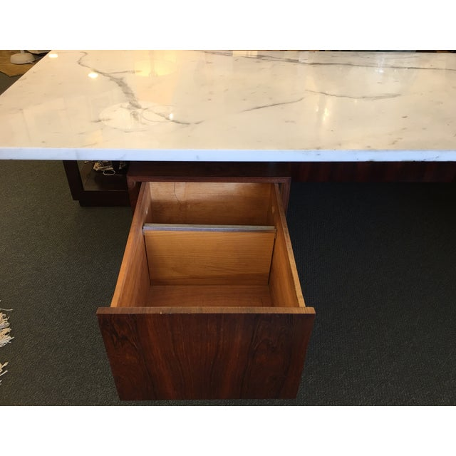 Mid-Century Executive Desk, Marble Top - Image 8 of 11