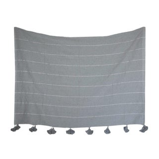 Moroccan Pom Pom Blanket, Silver on Gray With Grey Pom Poms