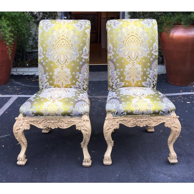 Carved Italian Side Chairs With Venetian Style Green Silk Lampas - Image 4 of 5