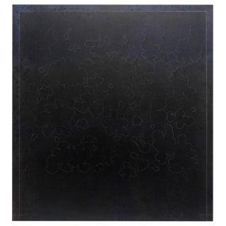Large Black Minimalist Abstract Oil Painting by Gerald Campbell