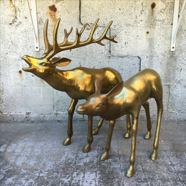 Hollywood Regency 2.4' Tall Brass Elk Couple - Image 3 of 9