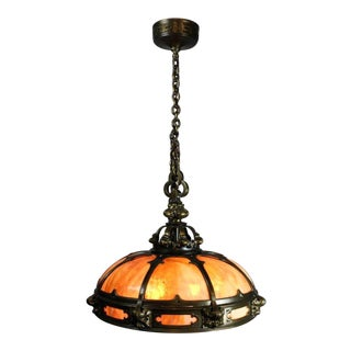 Monumental Gothic Slag Glass Dome Fixture by Mitchell Vance & Co.