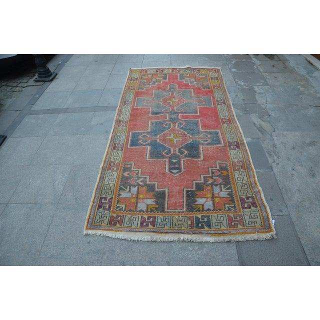 Antique Turkish Oushak Rug - 4′ × 8′1″ - Image 5 of 7