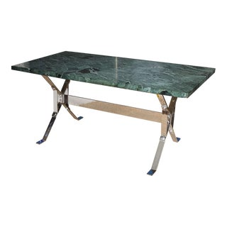 Albrizzi Steel Base Trestle Table with Serpentina Verde Marble Top