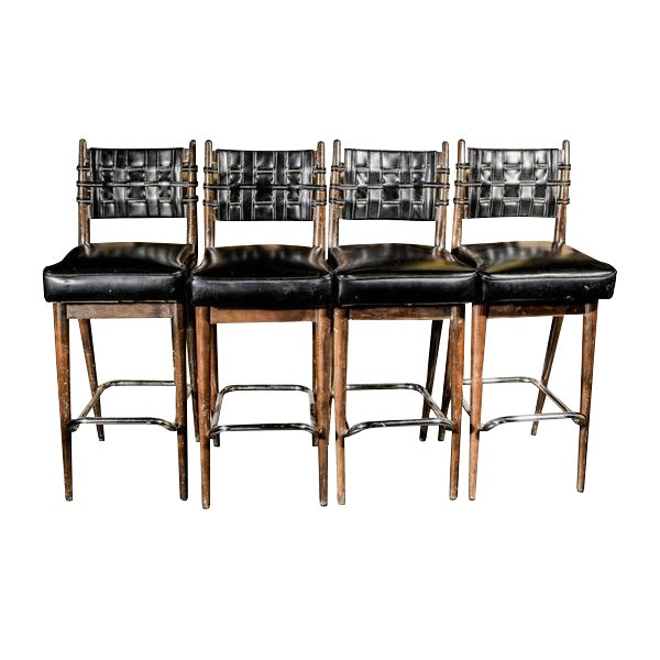 Mid-Century Danish Wood & Chrome Woven Leather Barstools - Set of 4 - Image 1 of 6