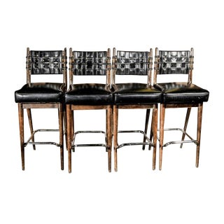 Mid-Century Danish Wood & Chrome Woven Leather Barstools - Set of 4