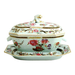 Chinese Export Porcelain Famille Rose Soup Tureen, Cover & Stand