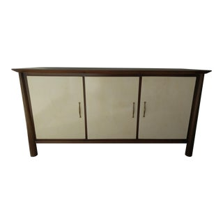 Walnut Credenza With Parchment Front Doors