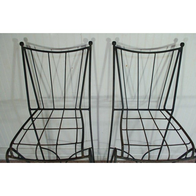 Mid Century Modern Wrought Iron Hairpin Bar Stools - A Pair - Image 3 of 11