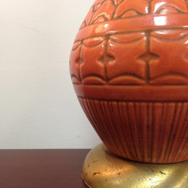 Image of Underwriters Mid Century Orange Ceramic Lamp